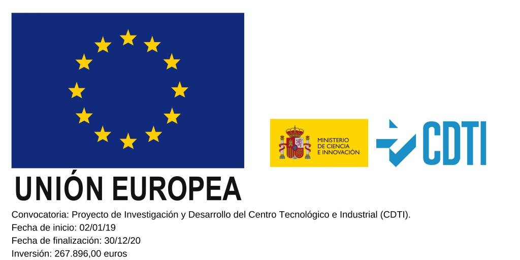 Convocatoria Proyecto de Investigacion y Desarrollo del Centro Tecnologico e Industrial CDTI. Fecha de inicio 02 01 19 Fecha de finalizacion 30 12 20 Inversion 267.89600 euros